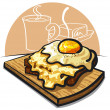 Royalty-Free Stock Vector Image: Cheese toast with egg