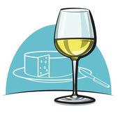 Bardağı SEK beyaz şarap ile — Stok Vektör