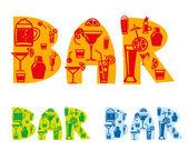 Bar drinks sign — Stock Vector