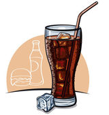 Glass of cola with ice — Stock Vector