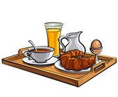 Breakfast in a hotel — Stock Vector