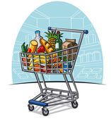 Shopping trolley with products — Stock Vector