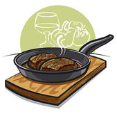 Hot steak on a pan — Stock Vector