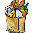 Paper bag with food — Stock Vector
