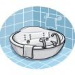 Jacuzzi in a bathroom — Stock Vector