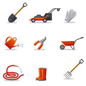 Garden tools icon set — Stock Vector