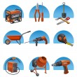 Construction tools icon set - Stock Vector