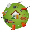 Stock Vector: Garden tools icon set