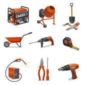 Construction tools icons — Stok Vektör