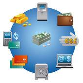 Banking icon set — Stock Vector