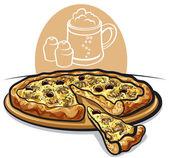 Pizza de setas — Vector de stock
