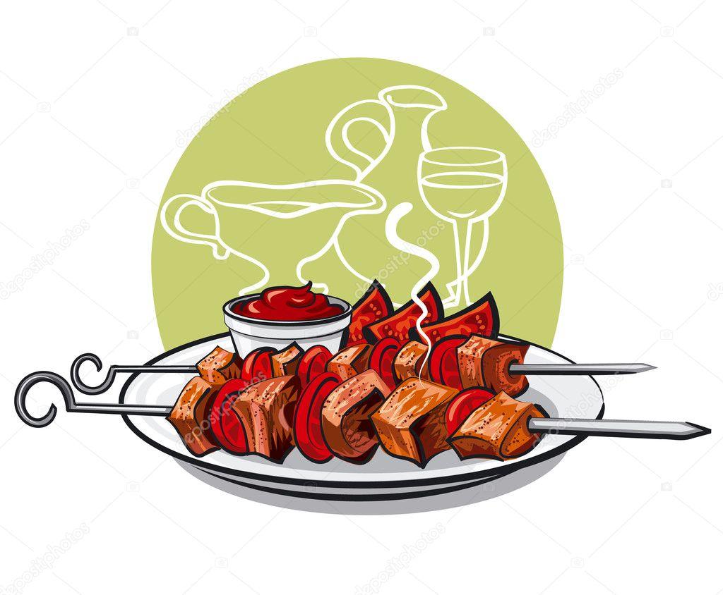 Grilled meat kebab — Stock Vector © olegtoka1967 #23436778