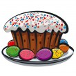Easter eggs and cake - Image vectorielle