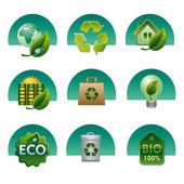 Eco and bio icon set — Stock Vector