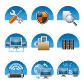Computer network icon set — Stock Vector