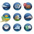 Stock Vector: Travel icon set buttons