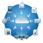 Red de servicios de nube — Vector de stock