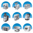 Stok Vektör: Kitchen appliances icon set