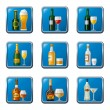 Alcohol drinks icon set - Stock Vector