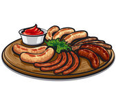 Grilled sausages with sauce — Stock Vector