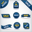 Jeans sale labels and stickers — Stock Vector
