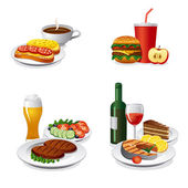 Daily meals icon set — Stock Vector