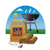 Firewood for barbecue — Stock Vector