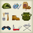 Stock Vector: Hike equipment icon set