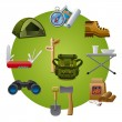 Hike equipment icon — Image vectorielle