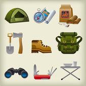 Hike equipment icon set — Stock Vector