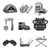 Tourism equipment icon gray — Stock Vector