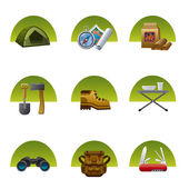Tourism equipment icon set — Stock Vector