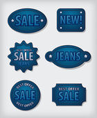 Jeans sale badges — Stock Vector