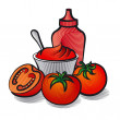 Stock Vector: Tomatoes and ketchup
