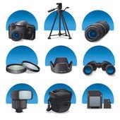 Photo accessories icon set — Stock Vector