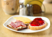 Breakfast with sandwiches — Stock Photo