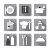 Cooking icon set flat gray — Stock Vector