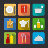 Cooking icon set flat — Stock Vector