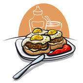 Burgers with fried eggs — Stock Vector