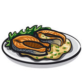 Grilled salmon — Stock Vector