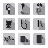 Mobile accessories icon set — Stock Vector