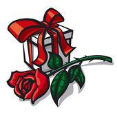 Rose a dárek — Stock vektor