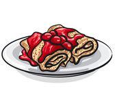 Panqueques con mermelada de cereza — Vector de stock
