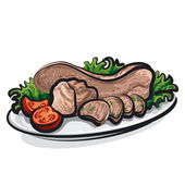 Veal tongue — Stock Vector
