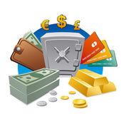 Para ve servet — Stok Vektör