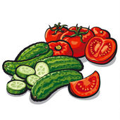 Cucumbers and tomatoes — Stock Vector