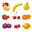 Fruits and berries icon set — Stock Vector