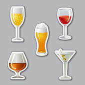 Alcohol drinks stickers — Stock Vector