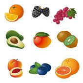 Owoce i jagody zestaw ikon — Wektor stockowy