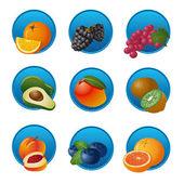 Ovoce a bobule sada ikon — Stock vektor